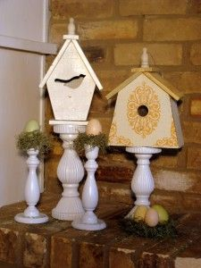 Spring Mantle. Birdhouse on Candle Stick