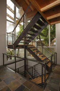 """Contemporary Staircase with High ceiling, Ms International Three Rivers Gold 12"""" x 12"""" Gauged Slate Floor and Wall Tile"""