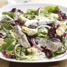 """Smoky artichoke-sardine salad (with a smoked-paprika dressing) from EatingWell's """"Healthy Recipes for One Serving"""": http://www.eatingwell.com/recipes_menus/recipe_slideshows/healthy_recipes_for_one_serving#leaderboardad"""
