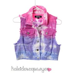 COLORFUL Denim Tie Dye Dyed DISTRESSED Cropped destroyed Vest Jacket... ($80) ❤ liked on Polyvore