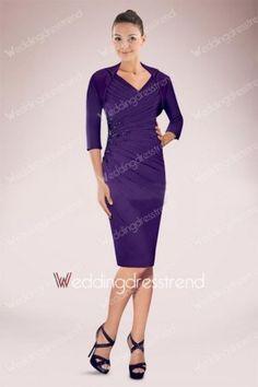 Best Elegant Appliqued Beaded Knee-length V-neck Ruched Sheath Mother of the Bride Dress - Shop Online for Cheap Mother of the Bride Dresses
