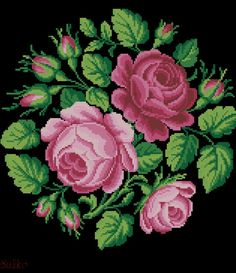 Reconstructed from a century original, and could be done in tent stitch, or cross stitch. Cross Stitch Pillow, Cross Stitch Rose, Cross Stitch Flowers, Cross Stitch Charts, Cross Stitch Designs, Cross Stitch Patterns, Needlepoint Patterns, Baby Knitting Patterns, Rose Embroidery