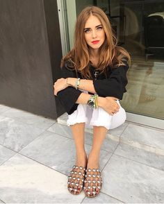 those cage sandals!!!! ::  #SpottedBySymphony: Super blogger Chiara Ferragni wears the Alexander Wang cage sandals | Find them online at BySymphony.com