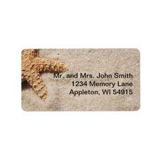 Beach Wedding Starfish in Sand Label