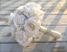Wedding bouquet, Bridal bouquet, bling bouquet, wedding flowers, silk bouquet, bridesmaids bouquet by BloomsNBrooches on Etsy https://www.etsy.com/uk/listing/536966537/wedding-bouquet-bridal-bouquet-bling