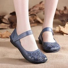 93f1f51dae Hot-sale SOCOFY Mary Jane Original Hollow Out Hook Loop Soft Flat Vintage  Shoes -
