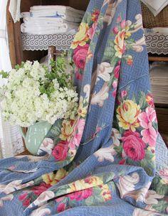 "VINTAGE Barkcloth BLUE Pink Roses Scrolls Drapery Fabric 65x67"" Cottage Home www.Vintageblessings.com"