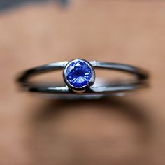 Sapphire engagement ring - recycled 14k white gold - modern - alternative engagement ring - made to order-Wishes ring