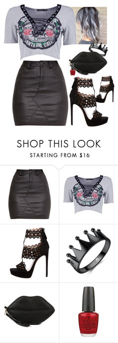 """""""✨👽✨"""" by taaniia ❤ liked on Polyvore featuring Boohoo, Gunne Sax By Jessica McClintock and OPI"""