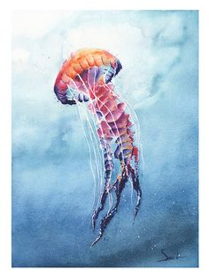 Hey, I found this really awesome Etsy listing at https://www.etsy.com/listing/231804448/jellyfish-art-print-watercolor-jellyfish