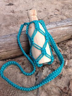 Macrame Water Bottle Holder in Teal by ByHandShop on Etsy