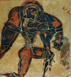 Detail Etruscan painted pottery depiciting Achilles carrying a dead Ajax.