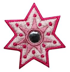 ID #8826 Red Reflective Sun Star Burst Shape Embroidered Iron On Applique Patch