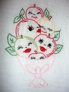 Embroidered apples in a pedestal dish is the pattern on this vintage tea towel... <> (dish towels, kitchen, textiles)  Apples
