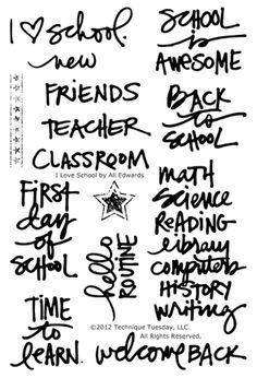 Technique Tuesday - Clear Acrylic Stamps - I Love School by Ali Edwards I Love School, Back To School, School Stuff, Middle School, High School, Baca Online, Kids Test Answers, Ali Edwards, Reading Time