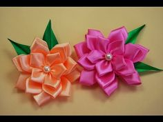 Flor de fita de cetim com contas e strass\ Flower satin ribbon with beads and rhinestones - YouTube