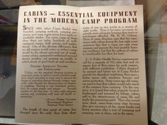 """""""Cabins Today"""" brochure - 2 of 2 - year?"""