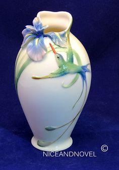 Franz Porcelain Collection Long Tail Hummingbird Iris Flower Short Vase FZ00246 | eBay