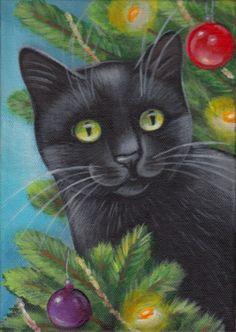 Black Cat Xmas Tree Acrylic Painting
