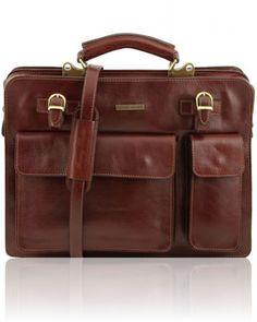 VENEZIA TL141268 Leather briefcase 2 compartments - Cartella in pelle 2 scomparti con zip