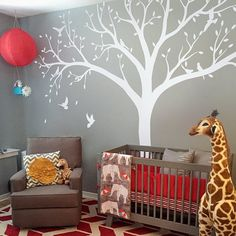 High 2.4m Giant Bird Tree Nursery Wall Decals Stickers Art Wall Mural Home Decor Living Room Bedroom