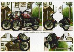 Old Vintage painting of Bikes Pub Side Stacker on Craftsuprint - Add To Basket!