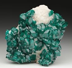 Minerals, Crystals & Fossils - Dioptase on Calcite - Tsumeb Mine, Tsumeb,...
