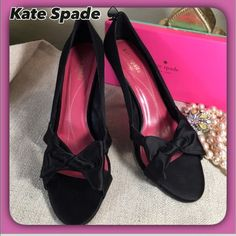 "Kate Spade ♠️ Black Satin Bow Peep Toe Pumps 💝 Kate Spade ♠️ Gorgeous Black Satin Bow Peep Toe  Heels!  Beautiful & Feminine .. Gently Loved!  Wonderful evening or special Occassion Heels!  4"" Lovely Heel 💝 kate spade Shoes Heels"