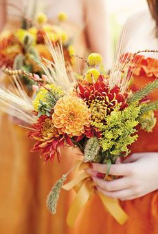 Burnt orange bridesmaids. fall bouquets, dahlias, celosias, wheat