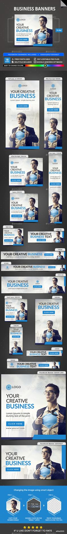Business Banners — Photoshop PSD #discount #web banner • Available here → https://graphicriver.net/item/business-banners/20046096?ref=pxcr