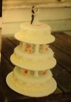 Wedding cake I decorated in 1998. Garrett Frill, carnations and roses.