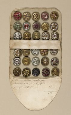 Sales Book of Sample Buttons, 18th century. Folding envelope: paper. France. Via Cooper Hewitt