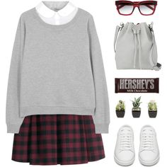 A fashion look from September 2015 featuring Clu sweatshirts, H&M mini skirts and Yves Saint Laurent sneakers. Browse and shop related looks.