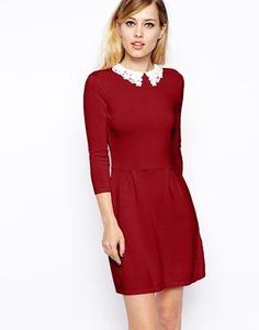 ASOS Knitted Skater Dress With Lace Collar, U.S. sizes 0-14. $66.33. Also in black, nude, and navy.