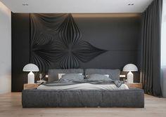 chambre à coucher de couleur gris graphite aménagée avec un lit rembourré gris et décorée de fleurs en 3D grises en tant que déco murale