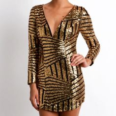 HP✨ Gold sequin dress DO NOT BUY THIS LISTING ⚠️ Comment and I will create a listing for you!                                          The perfect holiday, party, NYE dress! Gorgeous gold sequins with black mesh paneling, fully lined. High quality. Neckline is wired to keep a seamless silhouette and the modern design is perfection. No trades. No offers, price is firm. Boutique Dresses Mini