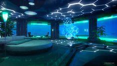 Modern + SciFi RPGs underwater bedroom by Voloshenko on DeviantArt How to build a water pond ! Underwater Bedroom, Underwater House, Underwater Theme, Underwater Tattoo, Titanic Underwater, Underwater Flowers, Underwater Wallpaper, Spaceship Interior, Futuristic Interior