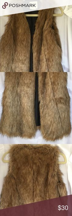 Faux Fur Vest Cuddly and warm and just right for the cool weather. Worn once.  Size large. Vest is 31 inches long. Jackets & Coats Vests