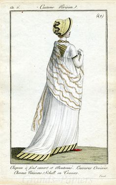1798. Lovely strip details on an otherwise very simple gown.
