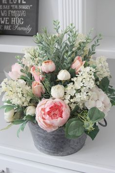 French Country Decor~Cottage Decor~Spring and Summer Centerpiece~Real Touch Peonies and Hydrangeas in a Galvanized Pail – farmhouse decor flowers Beautiful Flower Arrangements, Floral Arrangements, Beautiful Flowers, Summer Centerpieces, Floral Centerpieces, Peonies And Hydrangeas, Pot Plante, Church Flowers, French Country Decorating