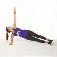 Lie on your side with your bottom elbow on the floor. Raise your hips so that they're off the ground and your body forms a straight line from your ankles to shoulders. Extend your top arm laterally so that it is perpendicular to the floor. While maintaining plank, lower top arm and reach under and past your hips with your top hand. Then reverse motion back to starting position.