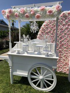 Dessert Cart by Bizzie Bee Creations Dessert Bar Wedding, Wedding Sweets, Wedding Candy, Candy Table, Candy Buffet, Dessert Table, Birthday Room Decorations, Balloon Decorations, Wedding Decorations