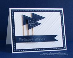 Great guy card - crisp white and navy birthday card.