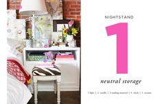 How to Style a Nightstand: Neutral Storage // via The Everygirl