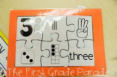The First Grade Parade: Number Sense & a Freebie! Numbers Kindergarten, Math Numbers, Teaching Kindergarten, Number Puzzles, Teaching Ideas, First Grade Parade, First Grade Math, Grade 1, Senses Activities