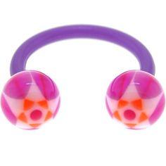 BIOPLAST Purple BLOOMING STAR Circular Horse Shoe | Body Candy Body Jewelry