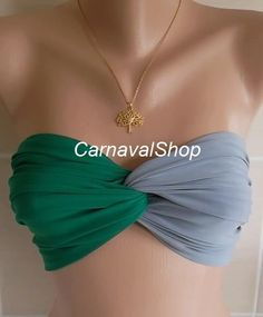 Spandex Bandeau Green / gray by CarnavalShop on Etsy