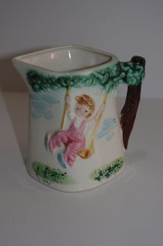 Vintage Creamer or Pitcher..Boy On by JunkinForJoyVintage on Etsy, $11.90