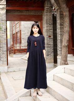 Linen dress Cotton Maxi dress Casual loose Kaftan Party Dress Extravagant Daywear Dress Custom-made Plus size tunic dresses Large size dress