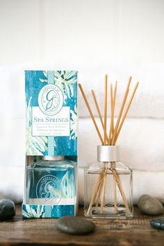 Greenleaf's new Spa Springs begins with aquatic notes brightened with bergamot and green tangerine and balanced with musk and amber in a refreshing blend! Green Tangerine, Spring Spa, Scented Sachets, Car Air Freshener, Bergamot, Amber, Fragrance, Notes, Gifts